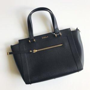 Ginevra Medium Leather Satchel Bag - Black